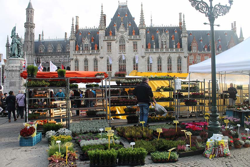 Feira na cidade de Bruges na Bélgica