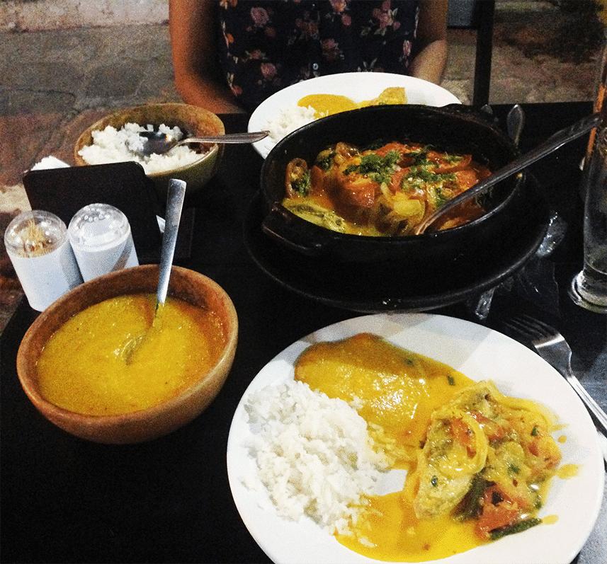 Janta de moqueca, noite em Lençóis, Bahia