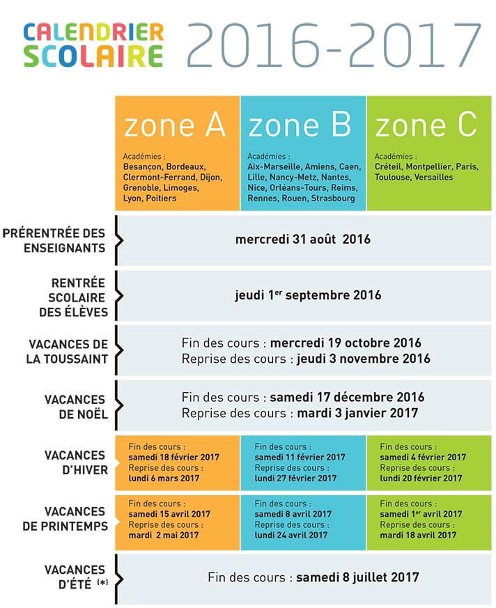 Calendario escolar na França 2016-2017
