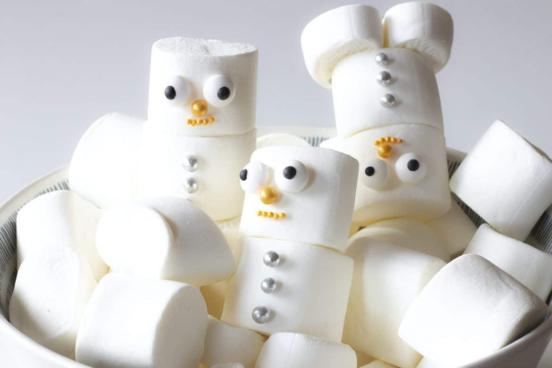 atividade inverno crianças boneco de neve de marshmallows